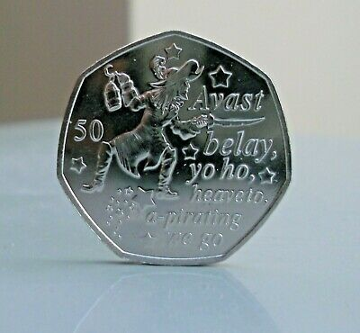 2019 Captain Hook Uncirculated 50p coin, from the Peter Pan Collection IOM %
