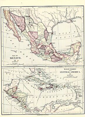 circa 1875 Mexico West Indies & Central America map
