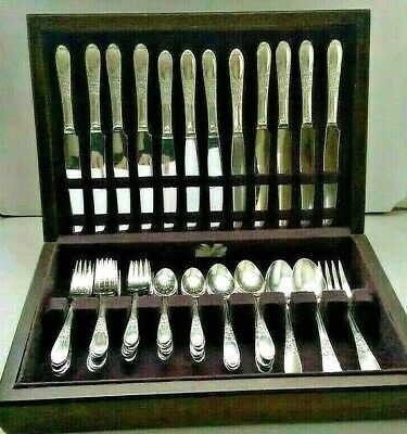 Wm Rogers Art Deco CHAMPAGNE 53 Pc Silver Plate Flatware Set for (12) w Chest