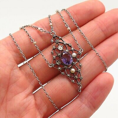 Antique Art Deco 925 Sterling Silver Amethyst Marcasite Gem Pearl Chain Necklace