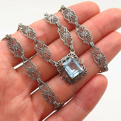Antique Art Deco Sterling Silver Light Blue Topaz Gem Filigree Ornate Necklace