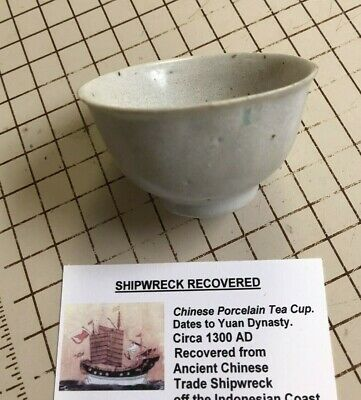 Shipwreck Recovered Ancient Chinese Porcelain Tea Cup 1300 AD Maker Marked
