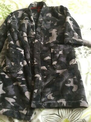 Boys Camouflage Dressing Gown Age 6-7 From M&S