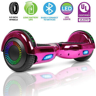 "6.5"" Hoverboard Bluetooth Chrome Electric Self Balance Scooter no Bag - Rose Red"