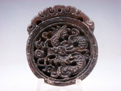 Old Nephrite Jade Hand Carved *Furious Curly Dragon* Pendant #12041820