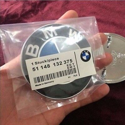 Replacemen BMW Car Emblem Chrome Front Badge Logo 82mm 2 Pins For BMW Hood