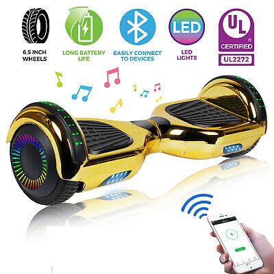"6.5"" Hoverboard Bluetooth Chrome Electric Self Balancing Scooter + Bag - Gold"