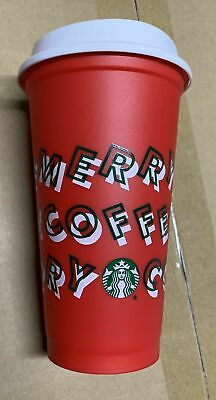 Starbucks Holiday Christmas 2019 Red and White Reusable Cup w/ Lid