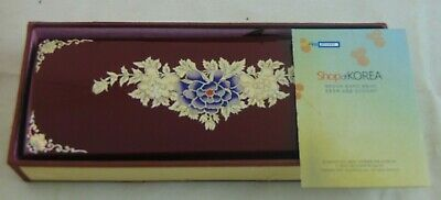 Korean Najeon-Chilghi Hand Cashew Painted Mother Of Pearl Inlay Writing Box