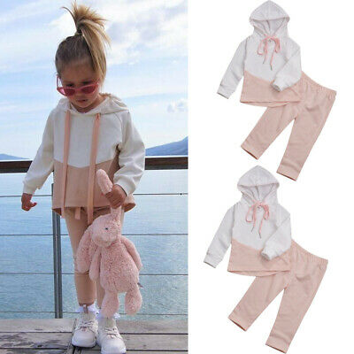 2Pcs Baby Girls Clothes Hooded Loose Tops Solid Pants Tracksuit Outfits Set