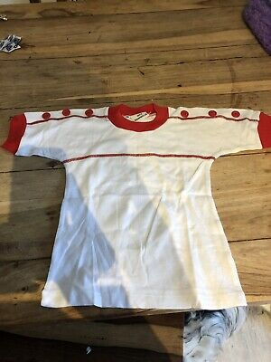 Vintage 70's Children's White & Red T Shirt Age 5-6 deadstock So Never Worn