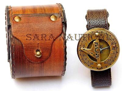 Antique Hand Watch Brass Vintage Sundial Compass with Leather Case