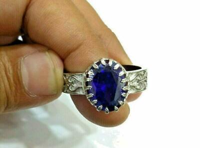 3Ct Oval Cut Blue Sapphire Halo Engagement Ring Solid 14K White Gold Finish