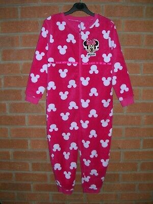 MINNIE MOUSE Girls Pink Fleece Pyjamas All-in-One Age 7-8 128cm Immaculate