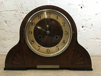 Vintage Art Deco Wooden Cased Haller Mantle Clock With Key