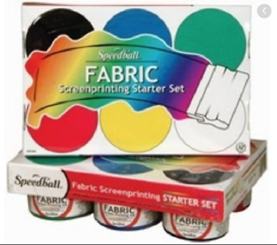 NEW Speedball Fabric Screenprinting Ink Starter (6 BASIC COLORS)