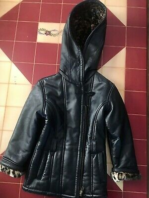 Girls Wilson Leather Black Winter Coat Size Small