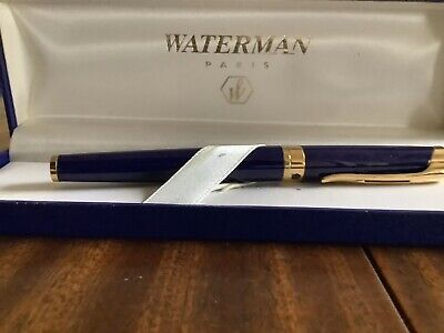 BOXED WATERMAN FOUNTAIN PEN  Blue and  Gold