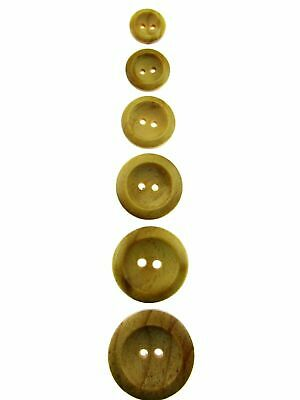 Two Hole Wedged Rim Wooden Buttons - CW3
