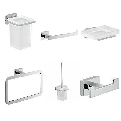 Bathroom 6 Piece Accessory Set Square Wall Mounted Stylish Modern Frosted Glass
