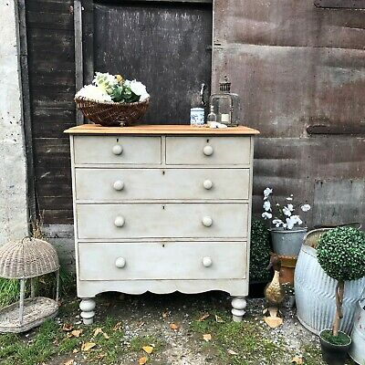 Grey Painted Antique Victorian Country Farmhouse Chest of Drawers Turned Feet