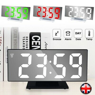 USB LED Digit Table Wall Clock Large 3D Display Alarm Clock Brightness Dimmer WH