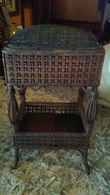 Antique Heywood Bros Wicker Sewing Basket Planter ORIGINAL Stain NOT PAINTED