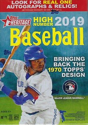 2019 Topps HERITAGE HIGH NUMBER MLB Baseball Cards 72c. Blaster Box Auto/Relic