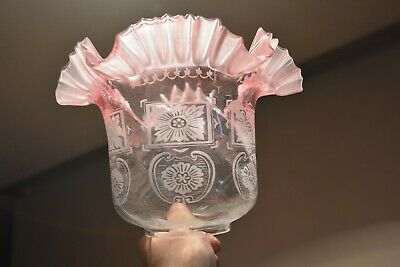 Superb antique Victorian Cranberry acid etched glass oil lamp shade