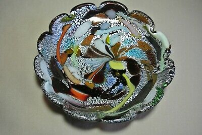 Vtg 50's Venetian Murano Multi-color Art Glass Hand Blown Dish Bowl Black
