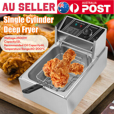 12 Liter Stainless Steel Single Cylinder Deep Fryer Commercial Countertop Fryer