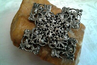 Rare Antique X-Large Massive Silver Cannetille Filigree Floral Cross Pendant