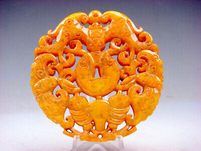 Old Nephrite Jade Stone Carved LARGE Pendant 3 Flying Bats & Coins #11071807