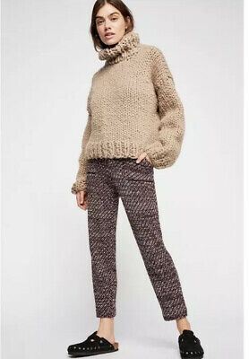 Free People Womens Cozy Knit Tweed Crop Pants Size XS High Rise Sweater NWT $148