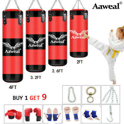 2-3-4 FT Unfilled Heavy Punch Bag Set Hanging Training MMA Bag,Chains,Gloves