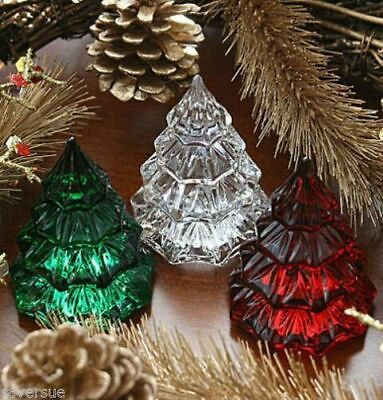"""Marquis By Waterford Crystal  3 1/2""""  X-mas Trees ( Red/Green/Clear)"""