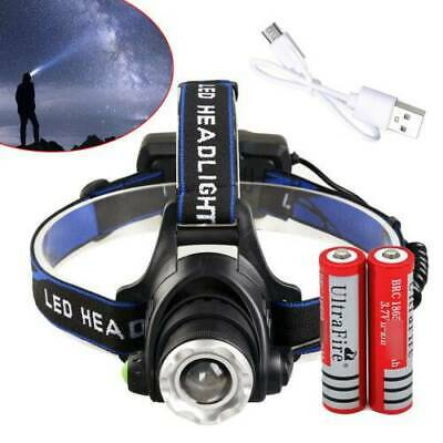 900000Lumen T6 LED Zoomable Headlamp USB Rechargeable 18650 Head Torch Headlight