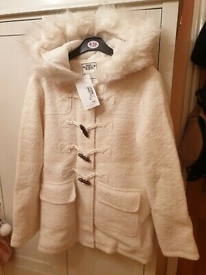Marks & Spencer Girls White Wool Duffle Coat Age 13-14 Years Brand New With Tags