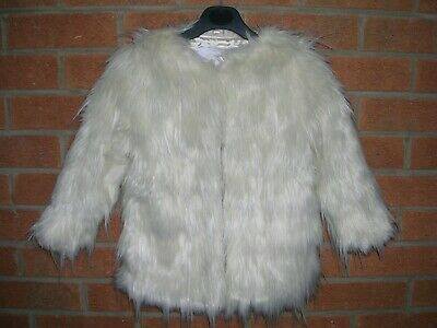 TU Girls Cream Shaggy Faux Fur Stylish Coat Age 3-4 104cm