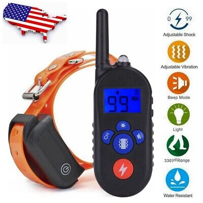 1000ft Remote Electric Dog Shock Collor Rechargeable Waterproof LCD Pet Training