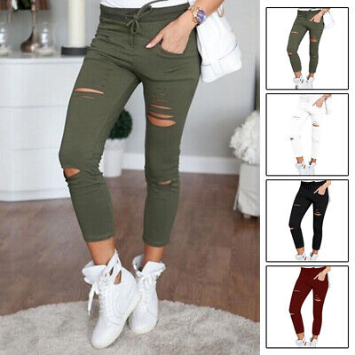 Cool Womens Denim Skinny Ripped Pants High Waist Stretch Jeans Pencil Trousers