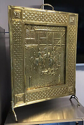 ANTIQUE PEERAGE Brass Fire Screen Guard Embossed HUNTING HORSE HOUNDS Theme
