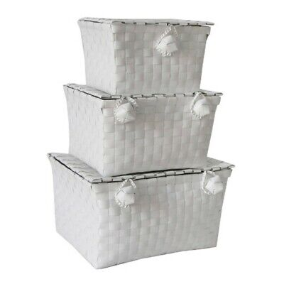 JVL Woven Lidded Storage Units, White, Set of 3