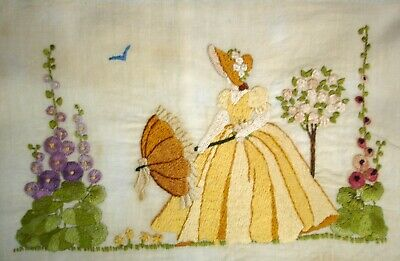 Vintage Hand Embroidered Unframed Linen Picture Crinoline Lady With Parasol