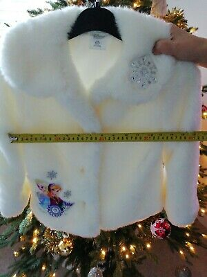 Girls  Disney Store Frozen White Faux Fur Coat (5-6 Years) Fantastic cond