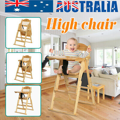 3 in 1 Wooden Folding Baby High Chair Fold-away Highchair Feeding Play Seat Gift