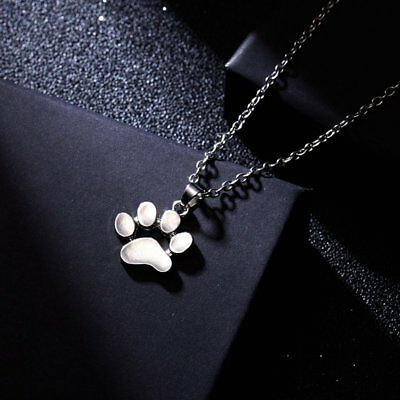 Women Necklace Jewerly Fashion Cute Pets Dog Footprints Paw Silver Chain Pendant