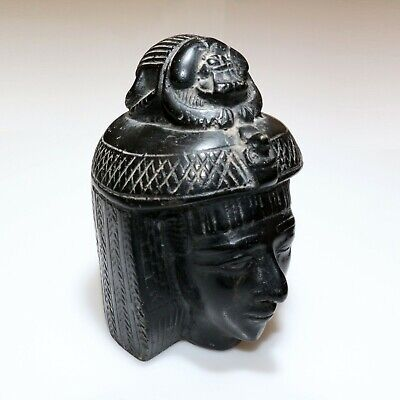 MASSIVE-1146 grams NEOCLASSIC EGYPTIAN CLEOPATRA STONE BUST SCULPTURE ORNAMENT
