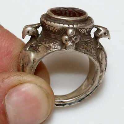 Museum Quality-Circa 500-900 Ad Islamic Silver Decorated Ring-Arabic Description