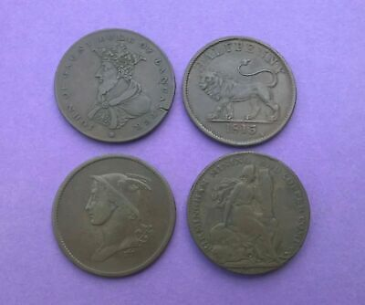 Selection Of Britain Georgian Half-Penny Tokens / Coins